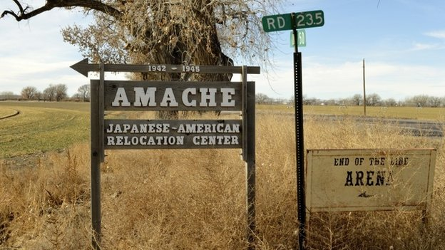 This Jan. 18, 2015, photo shows a sign at the entrance to Camp Amache, the site of a former World War Two-era Japanese-American internment camp in Granada, Colo.