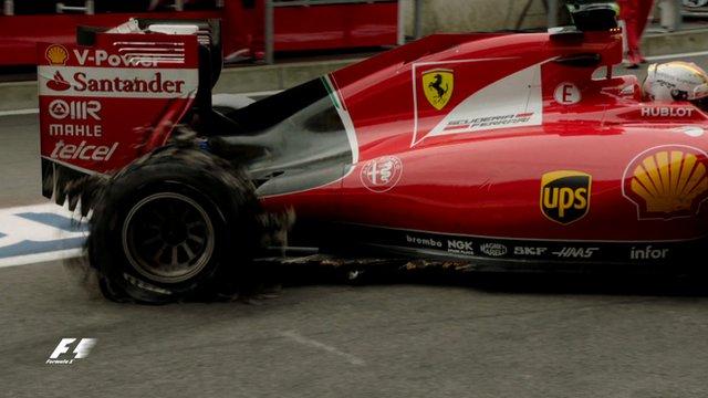 The exploded right-rear tyre on Sebastian Vettel's Ferrari