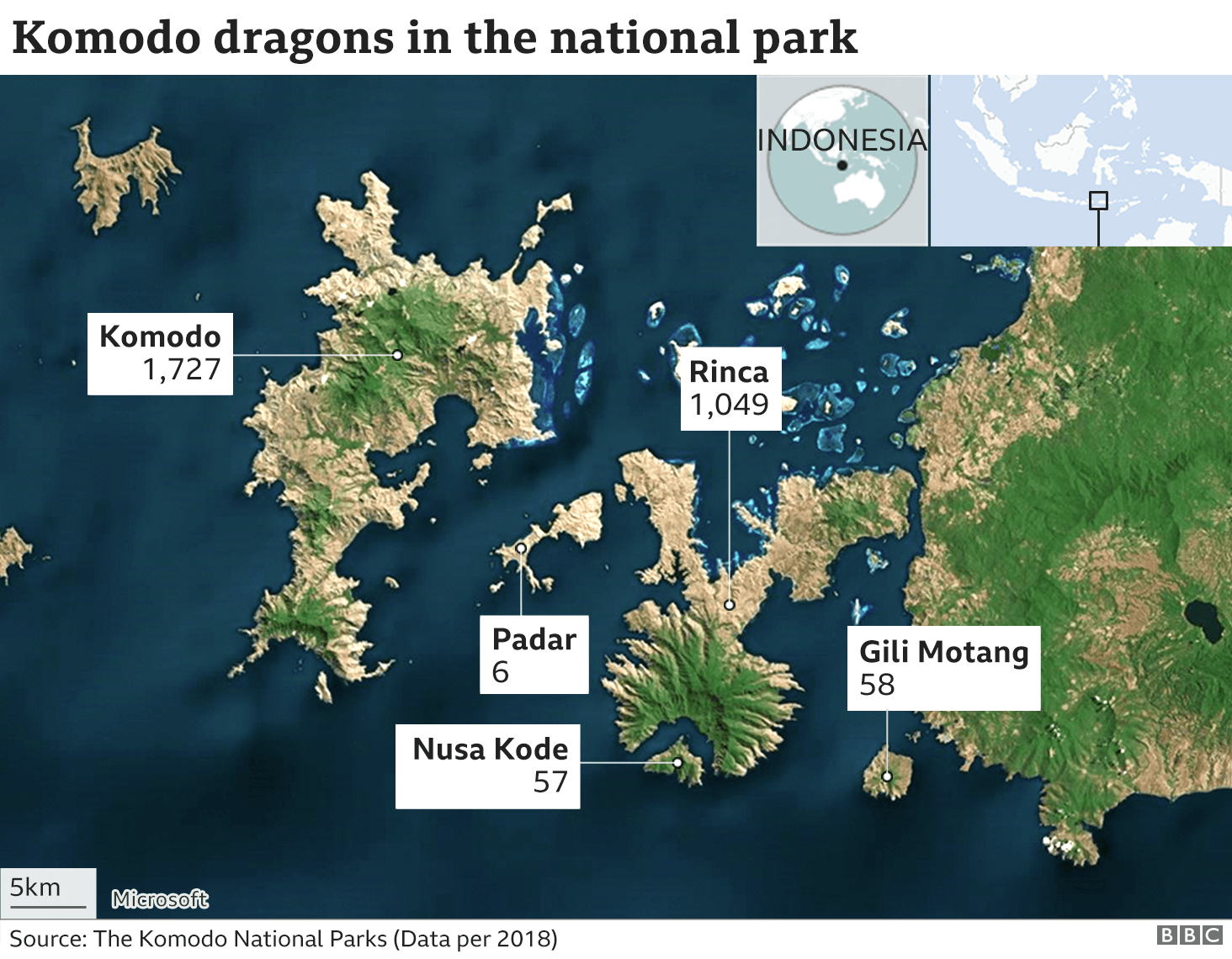 Map of Komodo dragons in national park