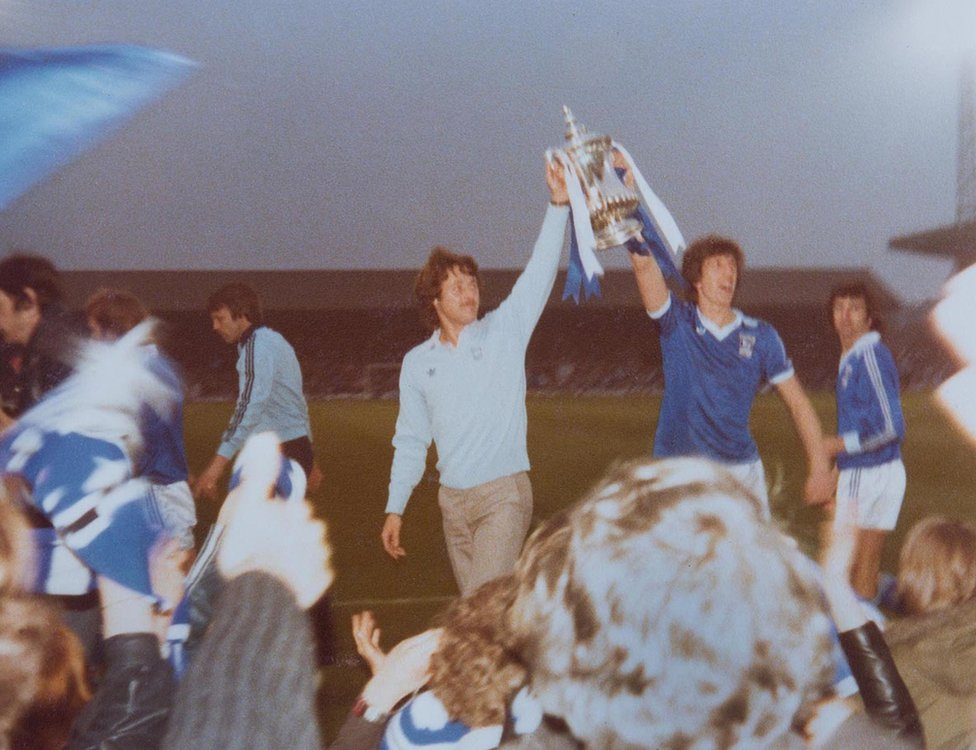 Ipswich players show off the Cup at Portman Road