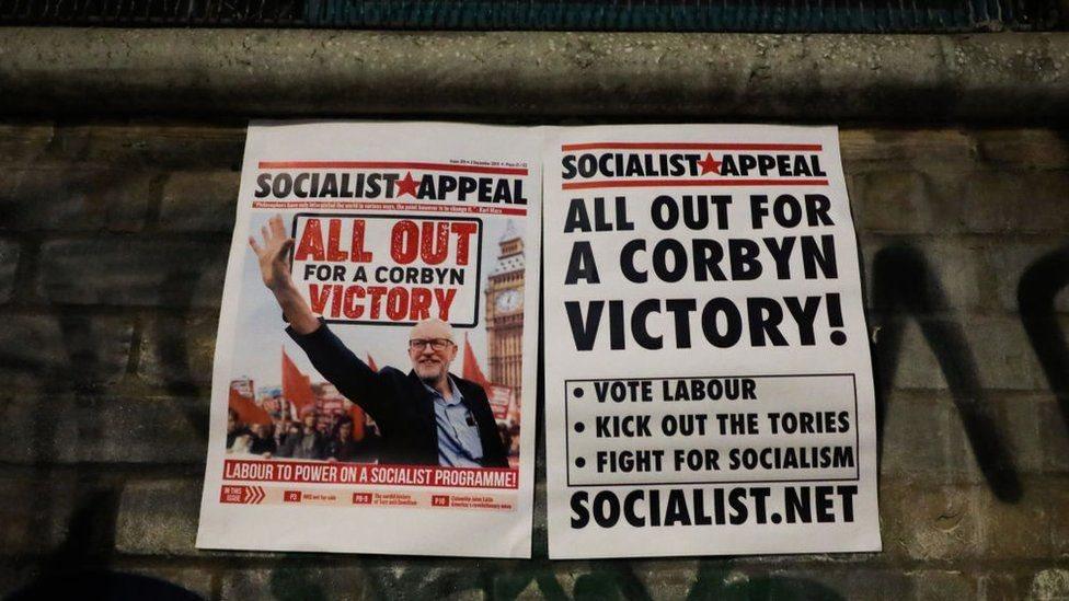 工黨領袖科爾賓的競選招貼畫,倫敦