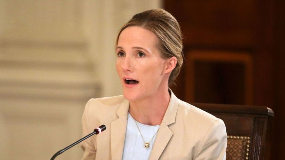 Facebook Head of Global Safety Antigone Davis speaks during a roundtable discussion on cyber safety and technology hosted by U.S. first lady Melania Trump in the State Dining Room at the White House March 20, 2018 in Washington, DC.