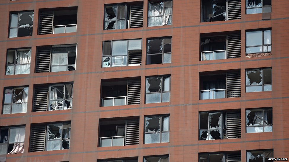 Windows shattered in Tianjin (13 August 2015)
