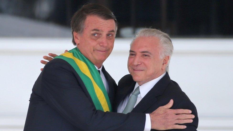 Jair Bolsonaro and Michel Temer at the inauguration