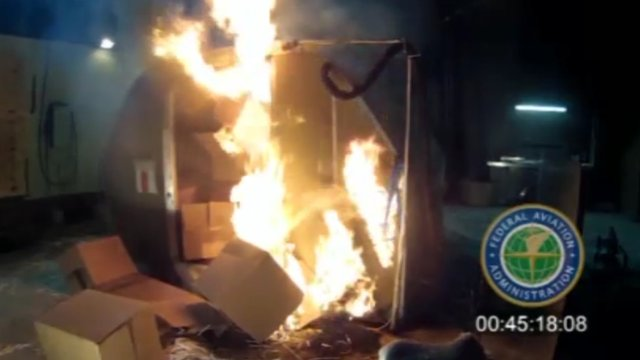 FAA video of lithium battery fire