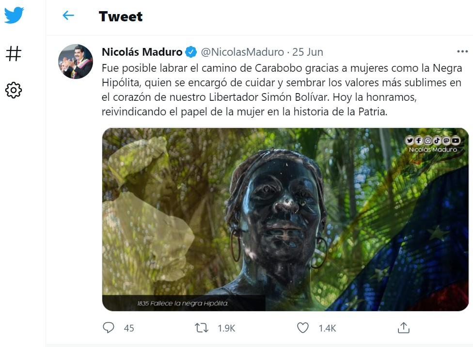 Mensaje en Twitter del presidente de Venezuela Nicolás Maduro