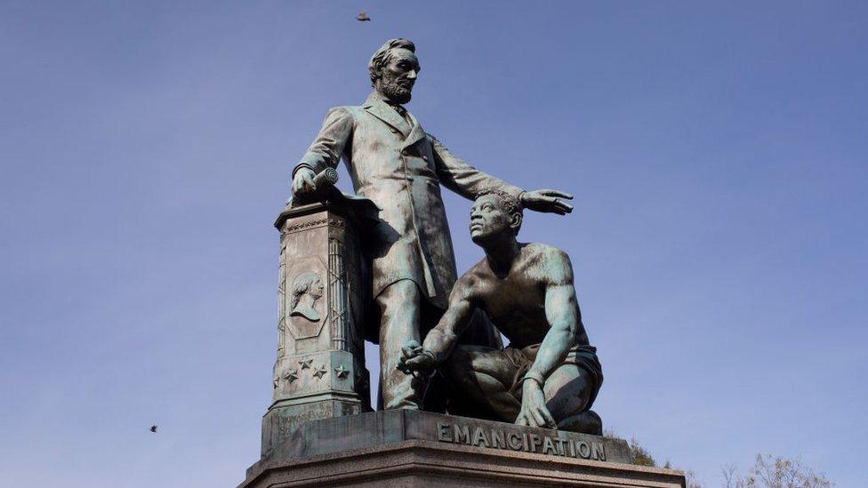 Estatua de la Emancipación de Lincoln en Washington.