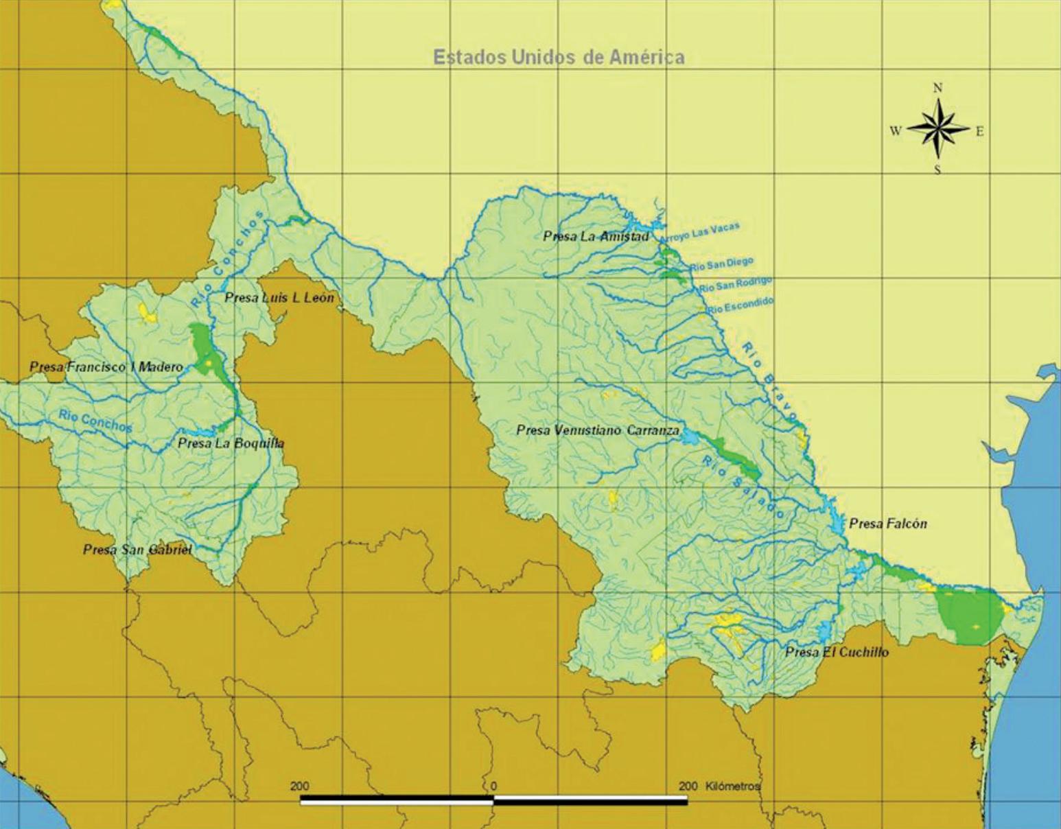 Mapa presas Río Bravo