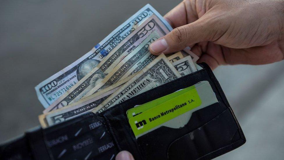 Dólares en una billetera.