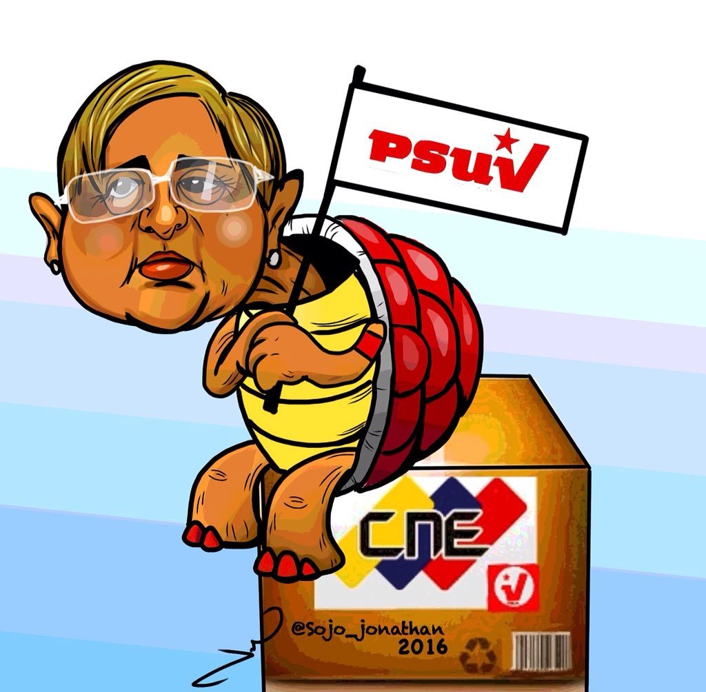 Tibisay Lucena is portrayed in a cartoon as a turtle waving a flag of the governing PSUV party