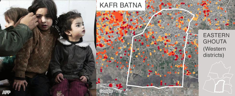 Map showing damage in Kafr Batna, Eastern Ghouta