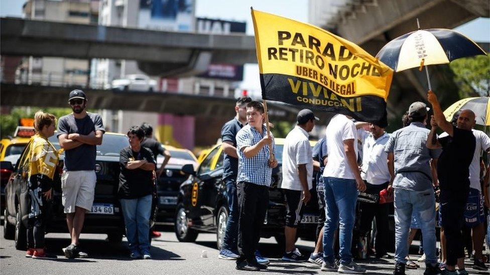 Una protesta contra Uber en Buenos Aires