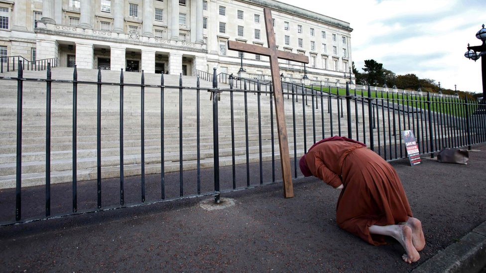 Anti-abortion activist outside Stormont in Belfast