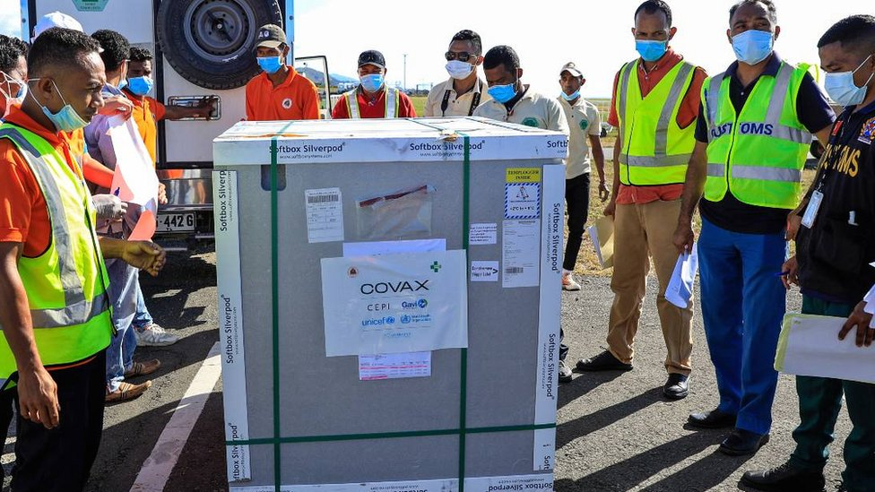 Llegad de una donación estadounidense a Timor Oriental