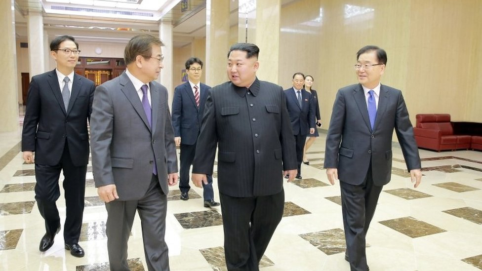 Kim Jong-un (4R) with the South Korea delegation in Pyongyang (5 March 2018)