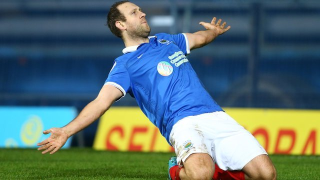 Guy Bates celebrates his winner against Ballymena United in the Irish Cup