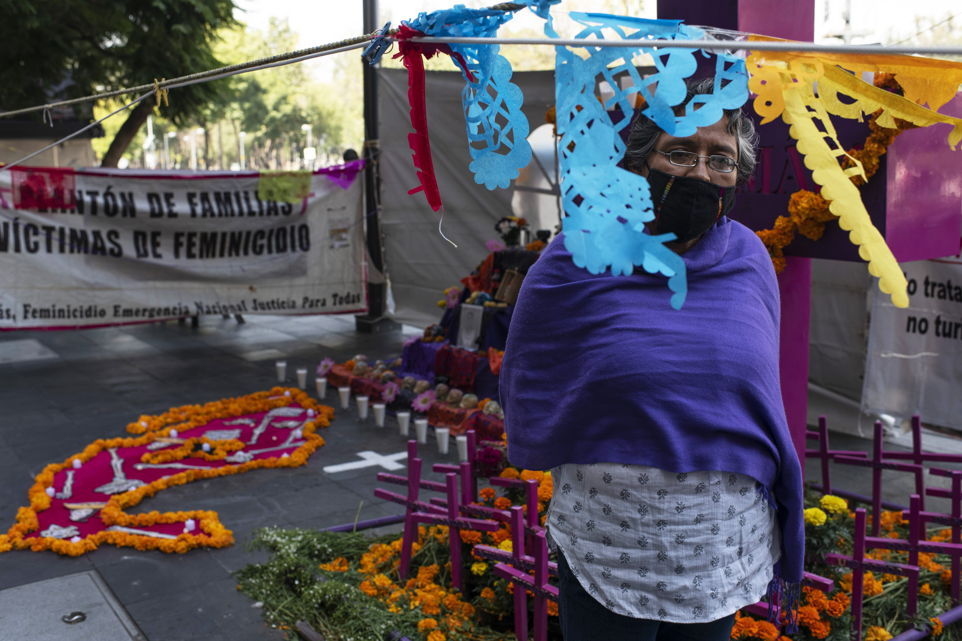 Alma Alvarado, from Jalapa, Veracruz, is in Mexico City supporting the feminist movement and the sit-in that takes place at the anti-femicide monument