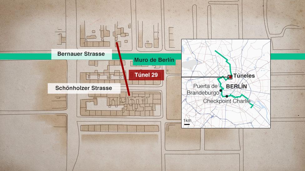 Mapa que muestra la ubicación del segundo túnel utilizado