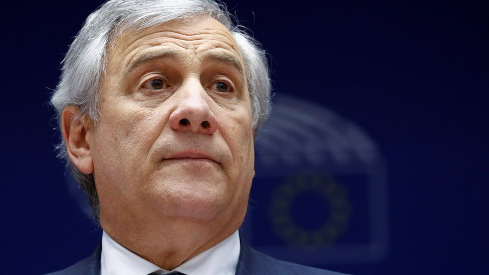 European Parliament President Antonio Tajani is seen at the beginning of a plenary session of the EU Parliament in Brussels, Belgium January 30, 2019