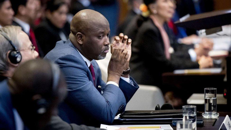 Menteri Kehakiman Gambia Abubacarr Tambadou di mahkamah internasional 10 Desember 2019