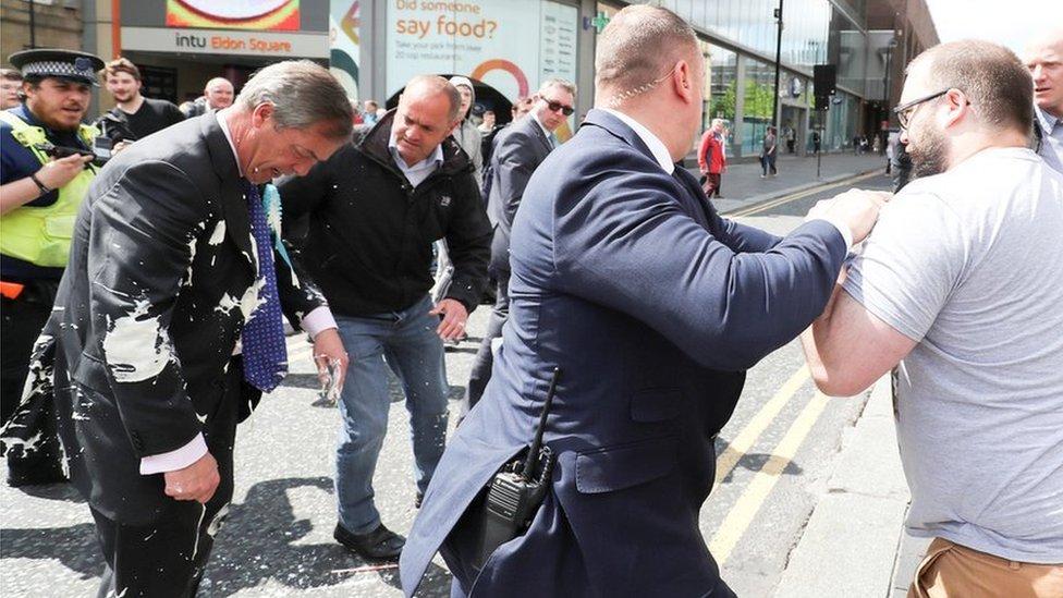 Nigel Farage hit by milkshake during Newcastle walkabout