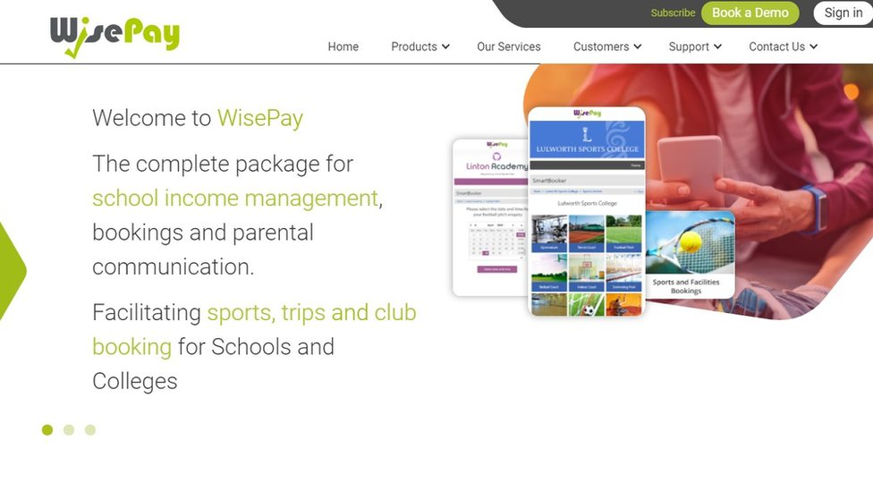 A screenshot showing the Wisepay website