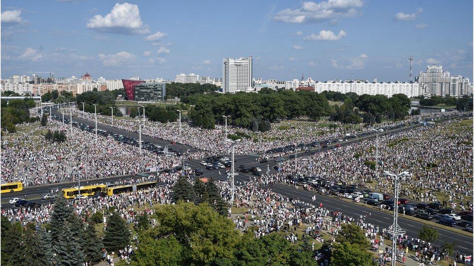 Marcha opositora en Bielorrusia este domingo 16 de agosto.
