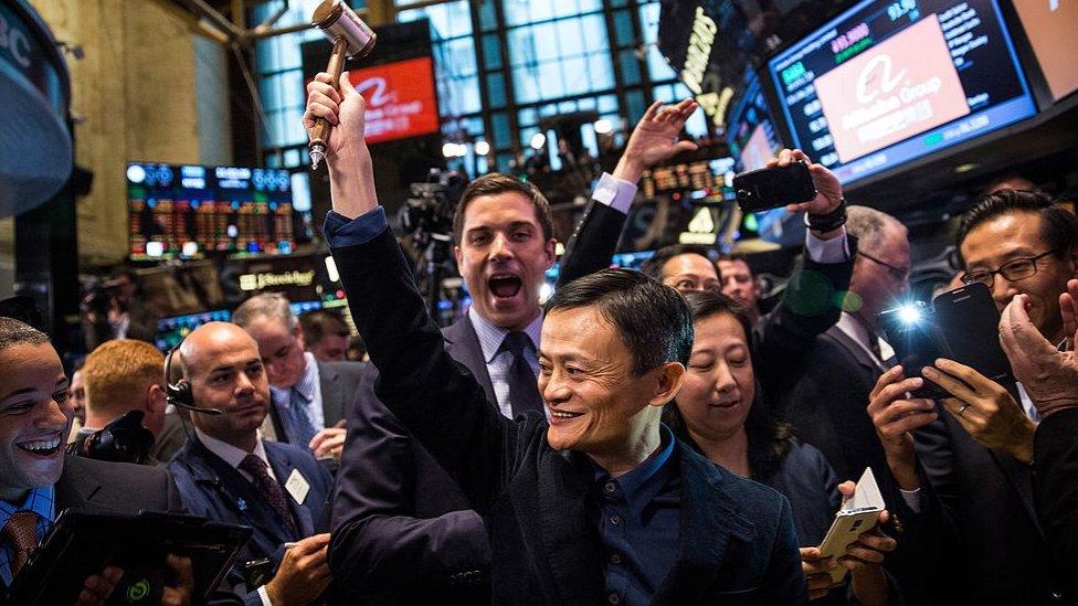 大陸電商巨頭阿里巴巴於2014年在紐約證券交易所首次亮相。(photo:EBCTW)