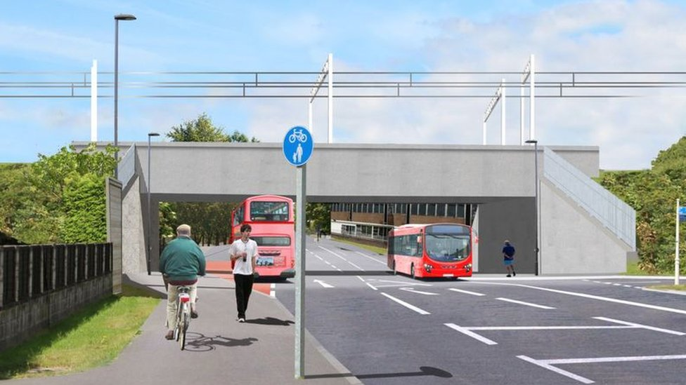 An artist's impression of how Gipsy Patch Lane in Bristol will look when the new bridge is in place