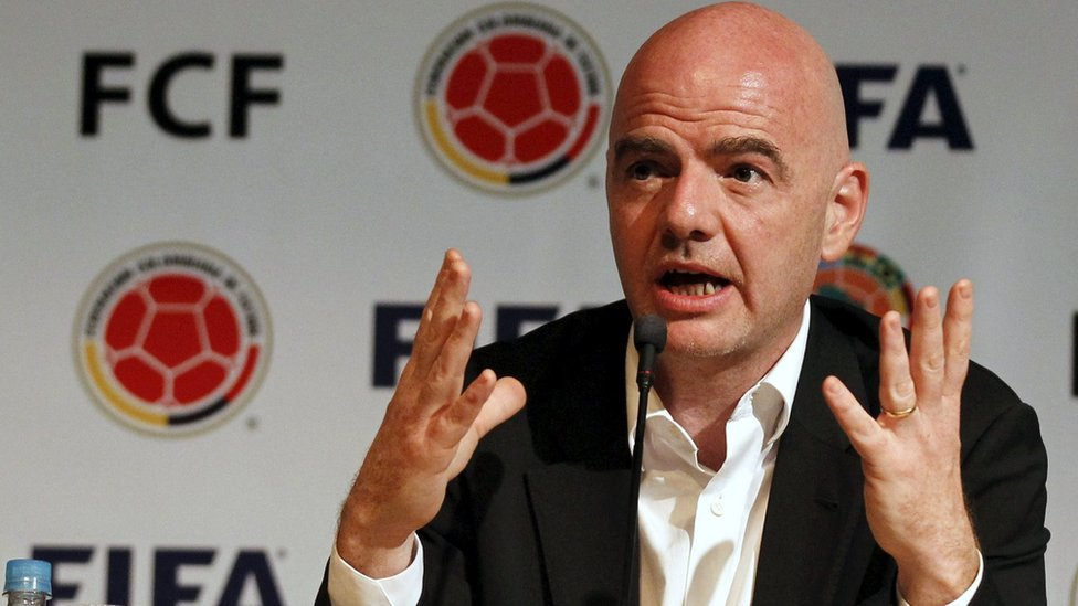 FIFA President Gianni Infantino gestures during a news conference at the Colombian Football Confederation headquarters n Bogota, Colombia, 31 March 2016.