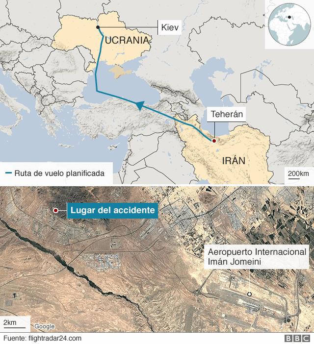 Mapa de la ruta del avión Boeing 737 de Ukraine International estrellado en Irán