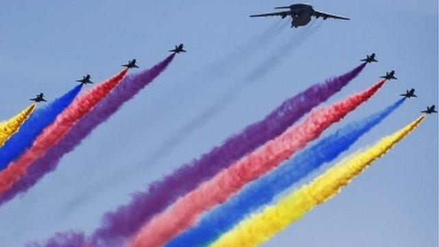 Military aircraft in China parade