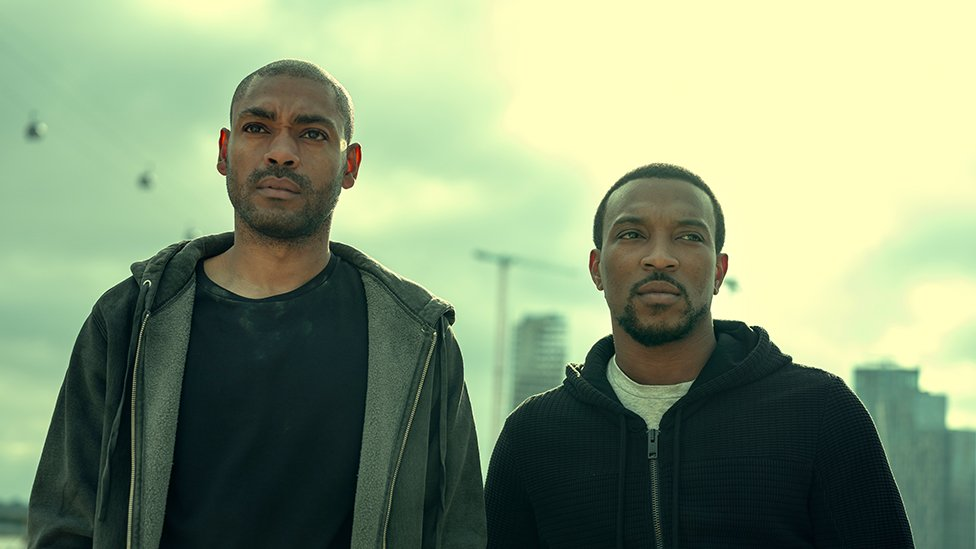 Kano and Ashley Walters on set of Top Boy