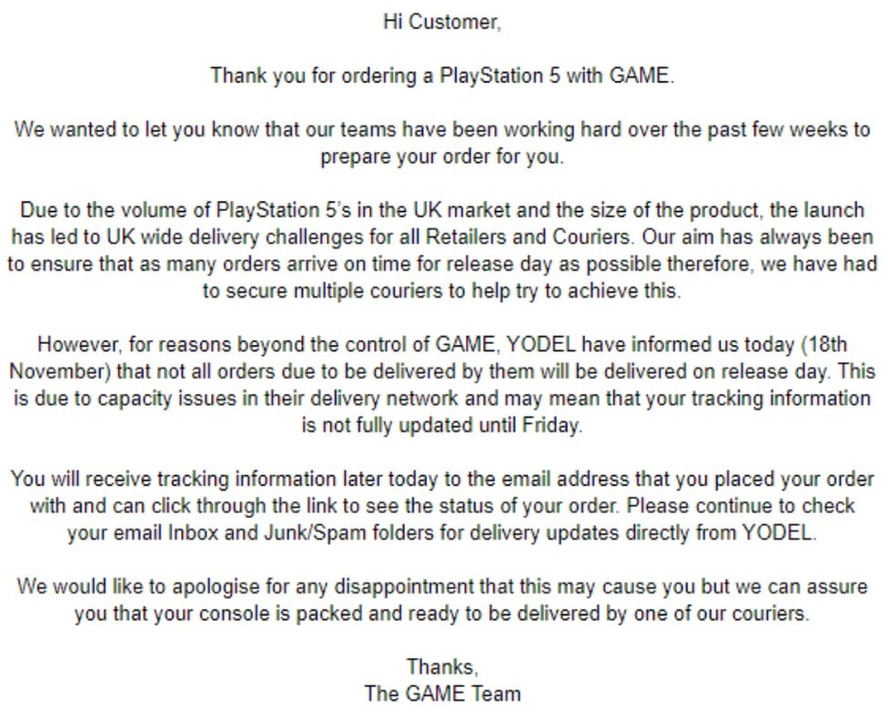 Game message