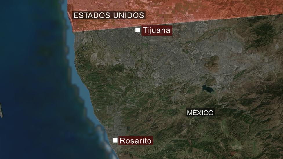 Un mapa de Tijuana y Rosarito