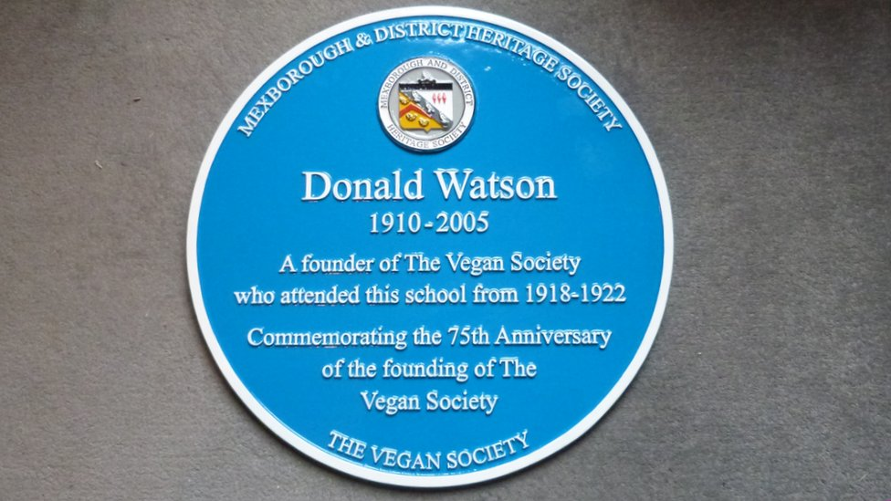 Blue plaque honouring Donald Watson