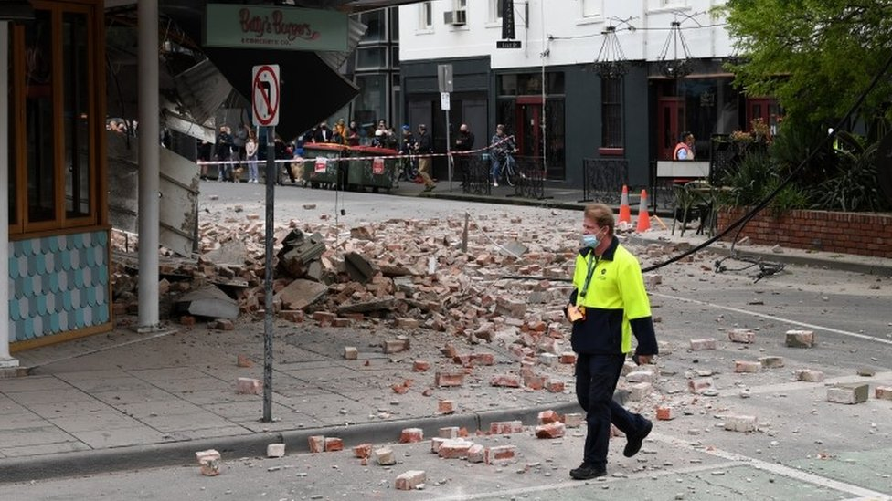 Rubble from a shop on the street in Chapel St, Victoria