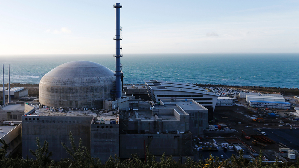 A picture taken in Flamanville, north-western France on November 16, 2016 shows the reactor Flamanville 3 in the construction site of the third-generation European Pressurised Water nuclear reactor (EPR).