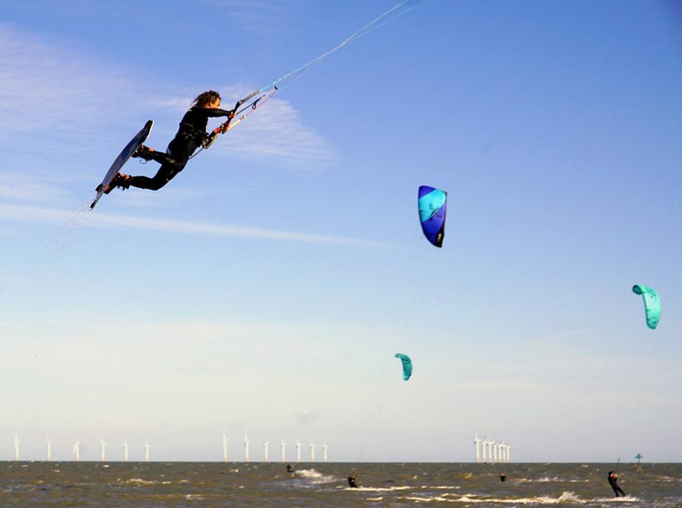 A kite skier, Clacton-on-Sea, Essex, England