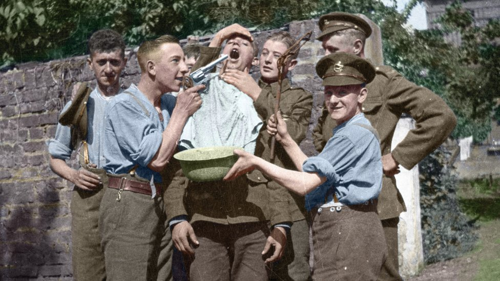 """Soldiers from King's Regiment (Liverpool) """"mucking around"""" in Oberkassel in 1919"""