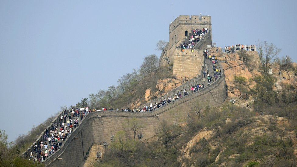 Tourists on the Great Wall near Beijing
