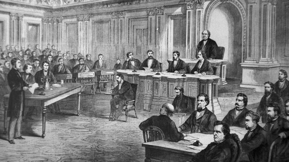 Ilustración del juicio político del presidente Andrew Johnson