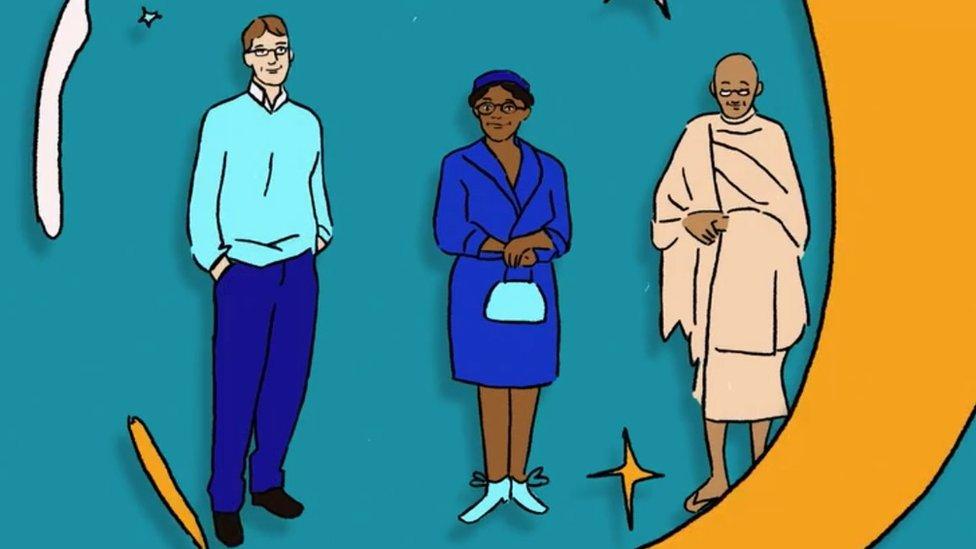 Ilustración de Bill Gates, Rosa Park y Mahatma Ghandi