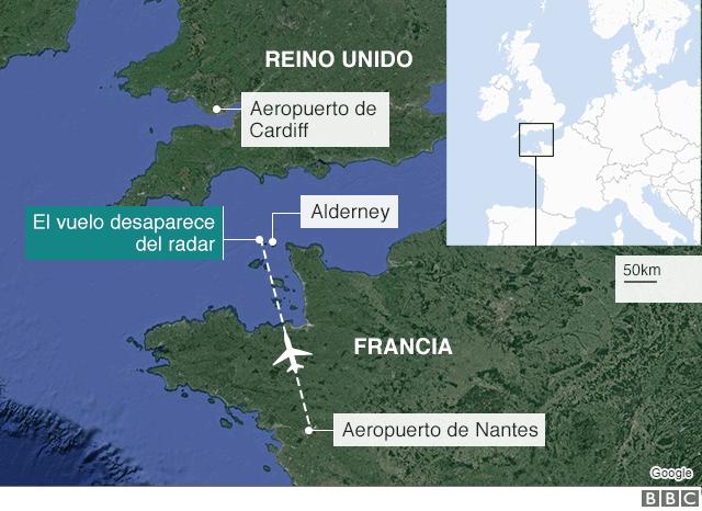 Mapa de la zona en la que desapareció el avión.