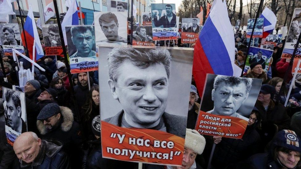 Marchers remember Boris Nemtsov in Moscow