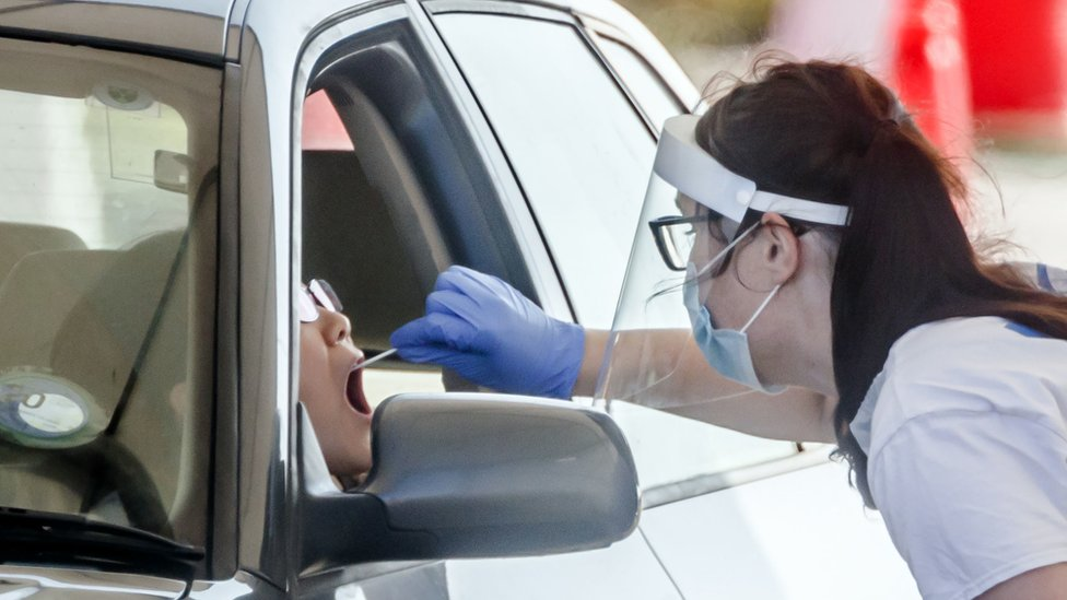 A person is tested at Temple Green Park and Ride Coronavirus testing centre in Leeds