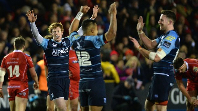 Cardiff Blues celebrate their win over Scarlets