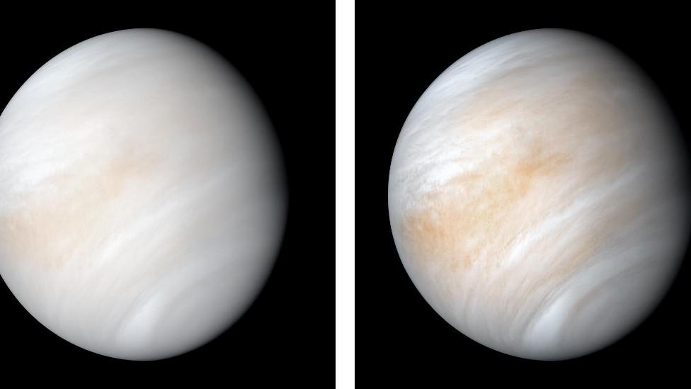 Dos imágenes de Venus envuelta en nubes blanquecinas y amarillentas