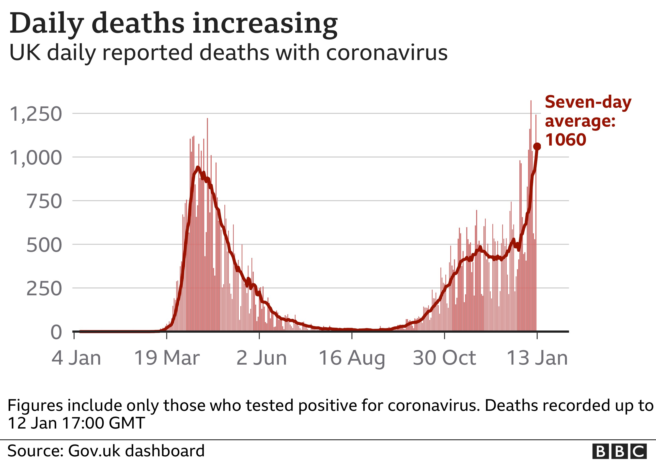Graphic showing daily death figures