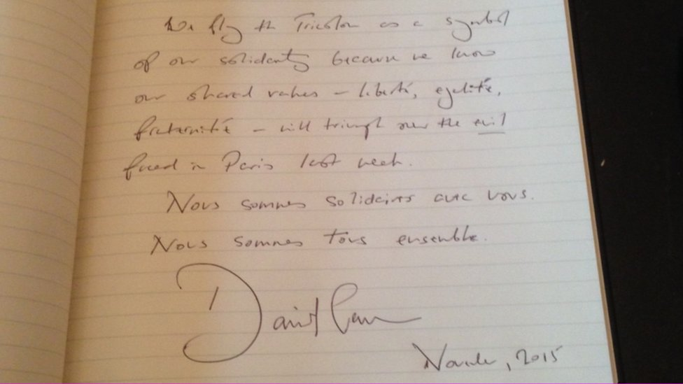 David Cameron's entry into the French book of condolence